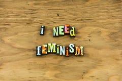 As meninas da mulher do feminismo apoiam a tipografia fêmea fotos de stock royalty free
