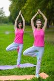 As meninas do esporte da aptidão no sportswear que faz a aptidão da ioga exercitam exterior Fotos de Stock