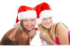 As meninas do Natal foto de stock