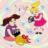 As meninas fazem o filme e o jogo ilustração royalty free