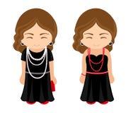 As meninas francesas bonitos em pouco preto vestem-se com grânulos ilustração stock