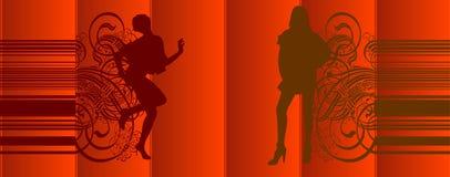 As meninas mostram em silhueta cortinas vermelhas ilustração stock