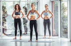 As meninas novas atrativas do esporte estão fazendo a ioga junto imagem de stock royalty free