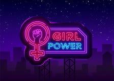 As meninas põem o sinal de néon Slogan feminista do slogan elegante, luz de néon da bandeira do estilo, sinal brilhante da noite  ilustração do vetor