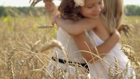 As meninas recolhem as orelhas do trigo do ouro em uma mão Caminhada das irmãs mais nova em torradores de Rússia Dia ensolarado n filme