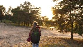 As meninas viajam com as trouxas através das madeiras Menina do caminhante caminhadas da família nas madeiras as meninas viajam,  vídeos de arquivo