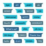 As mensagens do bate-papo do telefone do texto vector a coleção com palavras comuns ilustração royalty free