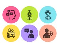 As mensagens, o gerente e os usuários conversam o grupo dos ícones O apoio de envio, datando o bate-papo e adiciona sinais do usu ilustração stock