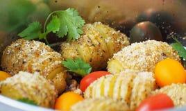 As microplaquetas de milho redondas friáveis prepararam o óleo do en Fotos de Stock Royalty Free