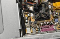 As microplaquetas de um computador velho foto de stock