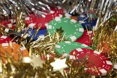 As microplaquetas do casino fecham-se acima Imagem de Stock Royalty Free