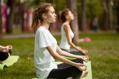 As mo?as sentam-se nas posi??es dos l?tus que fazem a ioga sobre esteiras da ioga sobre a grama verde no parque sobre um dia morn fotos de stock royalty free