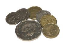 As moedas australianas isolaram-se Fotografia de Stock