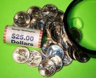As moedas brandnew do dólar americano imagens de stock