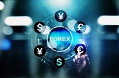 As moedas da troca dos estrangeiros trocam o conceito do negócio do investimento do mercado de valores de ação na tela virtual imagem de stock