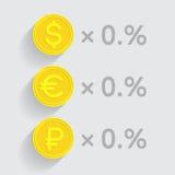 As moedas de ouro com dólar, euro e rublo assinam dentro negócio-fórmulas Fotografia de Stock