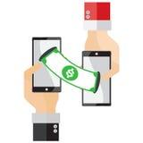 As moedas de prata do conceito do dinheiro de transferência do telefone ajustaram o vetor do mundo Imagem de Stock