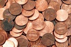 As moedas de um centavo americanas fecham-se acima Imagem de Stock Royalty Free