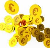As moedas do Euro indicam a finança e a moeda do dinheiro ilustração royalty free