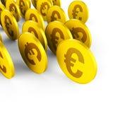 As moedas do Euro representam economias e comércio do negócio Fotografia de Stock Royalty Free