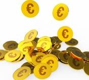 As moedas do Euro representam a prosperidade Euros And Financing ilustração royalty free
