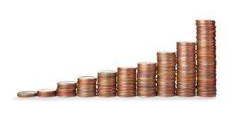 As moedas empilhadas do centavo do Estados Unidos isolaram-se fotos de stock royalty free