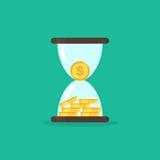 As moedas na ampulheta, dinheiro são conceito do tempo Imagens de Stock Royalty Free