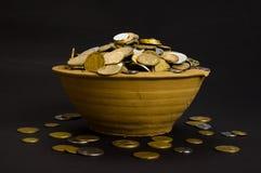 As moedas no potenciômetro e aproximam-se Imagem de Stock