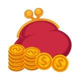 As moedas vermelhas grossas da bolsa e de ouro isolaram a ilustração Fotos de Stock