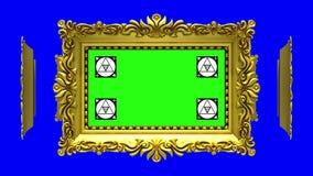 As molduras para retrato ornamentado do ouro gerenciem em um círculo no fundo azul, chave do croma Laço sem emenda, animação 3D c ilustração stock