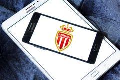 AS Monaco soccer club logo. Logo of french AS Monaco soccer club on samsung mobile Stock Photos