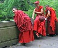 As monges budistas na roupa tradicional são descansar exterior imagem de stock