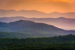 As montanhas apalaches no por do sol fotografia de stock