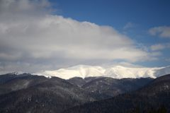 As montanhas Carpathian nevados foto de stock royalty free
