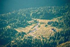 As montanhas da vista aérea ajardinam o acampamento e o curso do verão da floresta Fotos de Stock