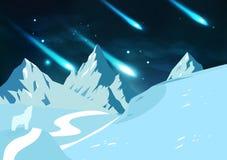 As montanhas do gelo ajardinam, meteoros caem a astronomia w das estrelas de tiro ilustração royalty free