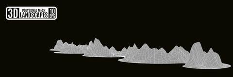 As montanhas poligonais cinzentas serpenteiam em um fundo preto Imagens de Stock