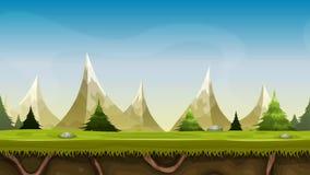 As montanhas sem emenda ajardinam a animação ilustração do vetor
