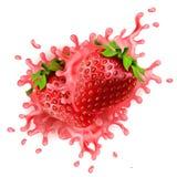 As morangos realísticas com iogurte colorido rosa espirram Imagens de Stock