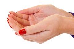 As mãos abertas Foto de Stock
