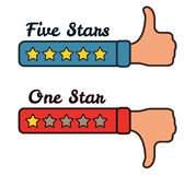As mãos com cinco e um Stars a ilustração do vetor do feedback da avaliação Fotos de Stock Royalty Free