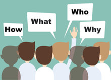 As mãos do homem de negócios levantadas acima de fazem perguntas Imagem de Stock Royalty Free