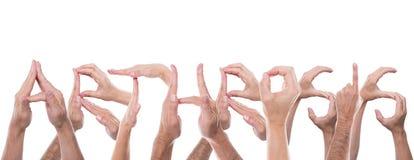 As mãos formam a artrose da palavra Imagem de Stock Royalty Free