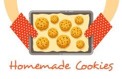 As mãos guardam uma bandeja quente com as cookies cozidas frescas Fotografia de Stock