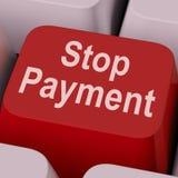 As mostras da chave do pagamento de parada param a transação em linha Imagens de Stock
