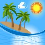 As mostras tropicais da ilha vão na licença e no atol Foto de Stock
