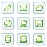 As movimentações e os ícones do Web do armazenamento, o quadrado branco abotoam-se ilustração do vetor