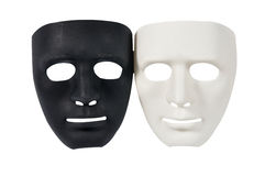 As máscaras preto e branco gostam do comportamento humano, concepção Fotografia de Stock