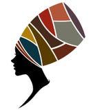As mulheres africanas mostram em silhueta modelos de forma no fundo branco ilustração do vetor