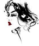 As mulheres bonitas, mulheres do logotipo enfrentam a composição no fundo branco, vetor Imagem de Stock Royalty Free